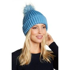 Free Press Faux Fur Pompom Pop Beanie (860 RUB) ❤ liked on Polyvore featuring accessories, hats, blue heritage, pom pom hat, beanie hat, faux fur beanie hat, pom pom beanie and crown hat