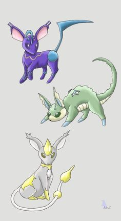 Here are my Moann Pokedex Eeveelutions They are of my two new types (Sound and Light) and the Dragon type. Oc Pokemon, Pokemon Fake, Pokemon Eeveelutions, Eevee Evolutions, Pokemon Fan Art, Mega Evolution, Story Characters, Pokemon Pictures, Science Art