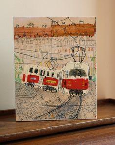 Prager Straßenbahn /Canvas Print / vom von ClareCaulfield auf Etsy, £75.00