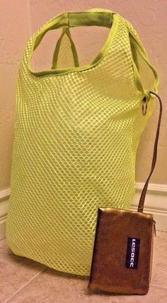 LESACC Tote Swim Bag Yellow Mesh, Gold change purse attached Waterproof Lining   #LESACC #ToteSwimBag