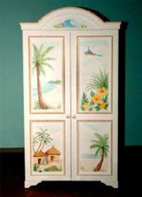 Hand Painted Armoire w/ Hibiscus Wallpaper Furniture, Decoupage Furniture, Painted Furniture, Bedroom Furniture, Diy Furniture, Tropical Style, Tropical Decor, Palm Tree Decorations, Painted Armoire