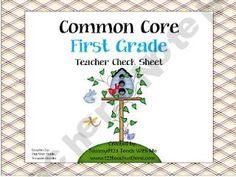 1st Grade Common Core Check Sheet