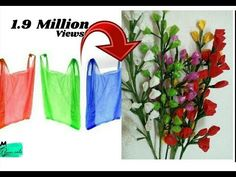(2) Reuse idea with Carry bags   Making flower bunches   Best out of waste - YouTube