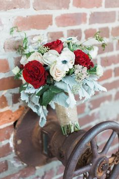 Red, White & Green Bouquet   Lindsey LaRue Photography