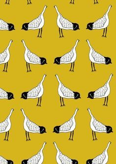 Bird Mirror Repeat - Mustard Yellow Art Print would love this on a skirt Pattern Images, Pattern Art, Pattern Ideas, Geometric Fabric, Geometric Designs, Textile Prints, Textile Design, Creative Arts And Crafts, Yellow Print