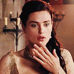 Morgana (gif) This would totally be her face is she saw Merlin with his sleeves rolled up. xP