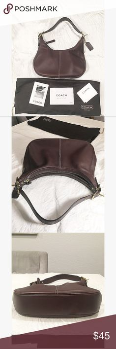 """Coach Leather Hobo Style Bag Coach brown hobo style bag with hardware accent. Including care instructions and dust bag. Handle drops about 7"""". Estimated width 11"""" and height in 7"""". Coach Bags"""