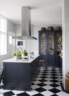 Best 50 Blue Kitchens - That you Need to See The Best 50 Blue Kitchens – That you Need to See.The Best 50 Blue Kitchens – That you Need to See. Glass Kitchen Cabinet Doors, Glass Front Cabinets, White Cabinets, Cherry Cabinets, Upper Cabinets, Inside Cabinets, Cupboards, Glass Door, White Kitchen Floor