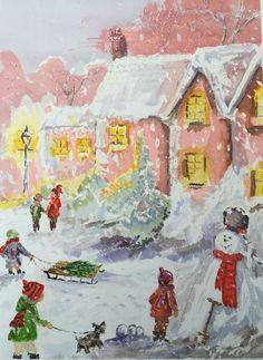 Watercolour Christmas Scene - By Bazza