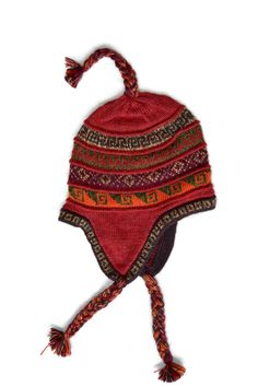 "Inca Red ""Chullo"" Comfortable and Cozy high quality Alpaca knit beanie."