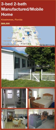 3-bed 2-bath Manufactured/Mobile Home in Kissimmee, Florida ►$69,500 #PropertyForSale #RealEstate #Florida http://florida-magic.com/properties/12743-manufactured-mobile-home-for-sale-in-kissimmee-florida-with-3-bedroom-2-bathroom