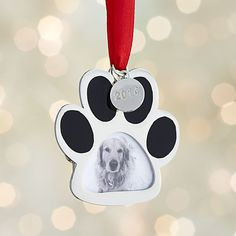 Silver Paw Print Photo Frame with 2014 Charm Ornament  | Crate and Barrel