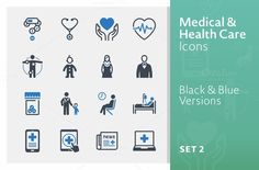 Medical & Health Care Icons - Set 2 by introwiz1 on Creative Market