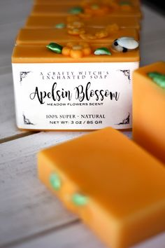 "Getting new soaps ready for another Magic Soap Box, to offer more choice. Love putting these back together... Like a puzzle. Apelsin Blossom - Swedish for ""orange"". Scented in Meadow Flowers."
