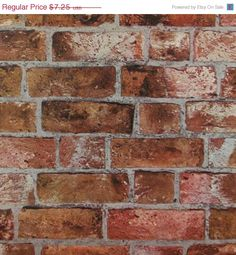 Faux Distressed Red Orange Brick and Mortar by WallpaperYourWorld