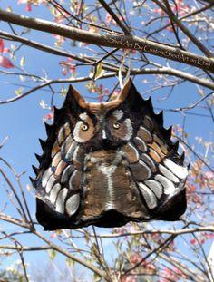 Owl Art hand painted Horseshoe Crab Shell by CustomSandArt on Etsy, $22.00