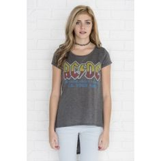 Heather grey high-low AC/DC t-shirt Girl Outfits, Fashion Outfits, Womens Fashion, Ac Dc, T Shirts For Women, Clothes For Women, Heather Grey, High Low, Latest Trends