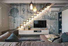An elegant LondonArt wallpaper, literally dreamer ☁️. Home Stairs Design, Duplex House Design, Home Room Design, Modern House Design, Home Interior Design, Living Room Designs, Living Room Under Stairs, Indian House Exterior Design, Luxury Bedroom Design