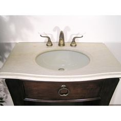 W5296-11 Sink Chest - Small in size but big on character and style, this mission style bathroom vanity in a beautiful mahogany finish with one large drawer and shelf is perfect for the minimalist. 3 cm Cream Marfil Marble top with under mount bone color sink.