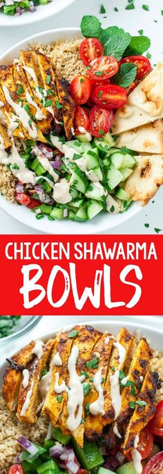 These gorgeous grain bowls are the ULTIMATE way to eat chicken shawarma! Guys, my love affair with this Middle Eastern inspired dish is epic. The result was a plate-licking dish that makes Clean Eating Results, Healty Dinner, Healthy Dinner With Chicken, Clean Eating Chicken, Clean Eating Dinner, Make Ahead Lunches, Healty Lunches, Dinner Bowls, Cooking Recipes