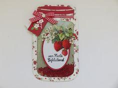 Frosien`s kaarten: Potje aardbeienjam (schudkaart) Mason Jar Cards, Mason Jars, Christmas Stockings, Christmas Ornaments, Shaped Cards, Marianne Design, Stencil Diy, Cookie Jars, Stamping Up