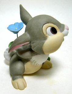 """Thumper Has something he'd like to give you. """"FRIENDSHIP FLOWER"""" - Thumper figurine #Disney #Bambi"""