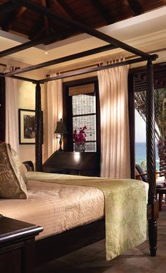 Get the Look: a #Colonial style #bedroom, at Bird of Paradise villa, Anguilla.