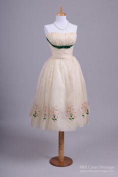 1950 Floral Spray Vintage Party Dress from Mill Crest Vintage