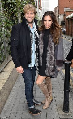 Happy couple: Westlife's Kian Egan and former Hollyoaks star Jodi Albert stopped off at Today FM's Anton Savage Show in Dublin on Tuesday Kian Egan, Stunning Brunette, Hollyoaks, Hollywood Celebrities, Family Christmas, Music Bands, Boy Bands, Husband, Singer