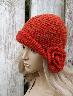 Crochet hat Womens trendy hat Orange melange  Rose by Degra2