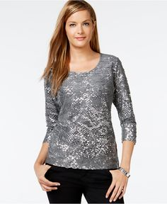 JM Collection Petite Jacquard Foil Top, Women; Macy's; COLOR: Charcoal Heather; Size: P/S; Foil accents give life to this petite textured top from JM Collection. Scoop neckline Pullover style Three-quarter sleeves Allover textured metallic foil print Easy fit Hits at hip Polyester/rayon Machine washable Imported