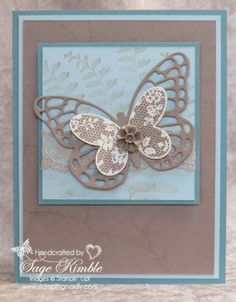 Here's a handmade Butterfly Basics card using 2015 In Color, Tip Top Taupe, from Stamping Madly.  I used the same design for all 5 of the new colors, and created videos to show you tips for using them.   http://stampingmadly.com/?p=4141