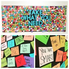 I think this is a really fun idea for a bulletin board in my school counseling office. Counseling Bulletin Boards, Interactive Bulletin Boards, Classroom Bulletin Boards, Classroom Decor, Motivational Bulletin Boards, Kindness Bulletin Board, Classroom Walls, Bulletin Board Ideas For Teachers, Teacher Boards