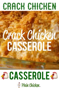 Crack Chicken Casserole Recipe Crack Chicken Casserole - creamy chicken casserole loaded with cheddar, bacon and ranch. Use a rotisserie chicken for easy prep! Dinner Casserole Recipes, Easy Dinner Recipes, Breakfast Recipes, Dinner Ideas, Recipes For Casseroles, Good Easy Recipes, Casseroles With Chicken, Lunch Recipes, Easy Family Recipes