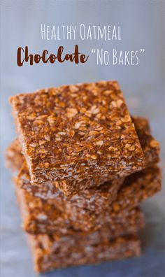 """A """"lightened up"""" version of those classic chocolate oatmeal no bake bars everyone loves so much: At first glance, traditional chocolate no bake recipes—made with wholesome oatmeal instead of flour—might seem like a healthy choice. But with half a cup of butter and TWO full cups of refined sugar packed into traditional no bake bar...View The Recipe »"""