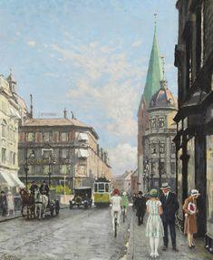 fischer, paul gustave - Street Scene from Saint Clemens Torv in Aarhus Berlin Art, Aarhus, First Art, Vintage Artwork, Conceptual Art, Art Auction, Famous Artists, Lovers Art, Bunt