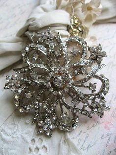 Vintage Rhinestone Brooch...on a decorative cushion at Christmas or added to a wreath.