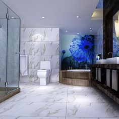 Carrara Marble Effect Porcelain Tiles In A Modern Luxury Bathroom.  #marbleeffect #porcelain #
