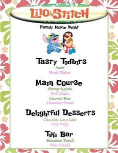 Lilo and Stitch menu Disney Family Movie Night Lilo and Stitch Movie Night For Kids, Movie Night Snacks, Dinner And A Movie, Family Movie Night, Movie Nights, Night Food, Game Night, Disney Menus, Disney Dinner