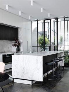 Gallery of Casa Atrio / Biasol – 6 - Interior design kitchen Modern Kitchen Interiors, Modern Kitchen Design, Home Decor Kitchen, Modern House Design, Interior Design Kitchen, Modern Interior Design, Interior Ideas, Kitchen Ideas, Marble Interior