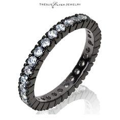 925 silver CZ 3mm wedding anniversary black rhodium band ring size 4 to 10 women #Band
