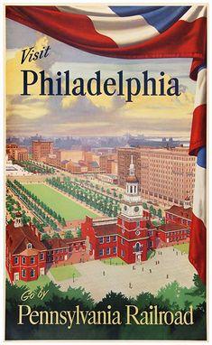 1945 Visit #Philadelphia by Pennsylvania #Railroad, USA vintage travel poster
