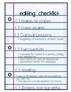 Peer Editing Checklist Directions  Proofreader  Answer all     Digitalcrate Net