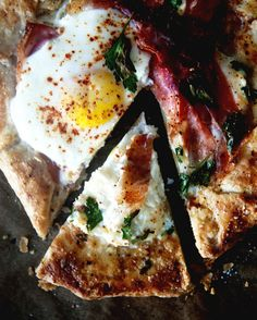 Baked fried egg crostata
