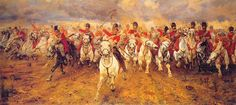 """meninroad: """"Painting by Lady Elizabeth Butler showing the charge of the Scots Greys at the Battle of Waterloo. As they formed up, the cry was heard; """"now my boys, Scotland forever!"""" """""""