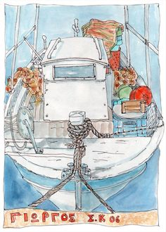 Fine Art giclee print on watercolour paper. From an original watercolour of a Greek fishing boat by Gill Tomlinson. Watercolor And Ink, Watercolor Paintings, Visit Chile, Greece Art, South America Travel, Canvas Prints, Art Prints, Fishing Boats, Giclee Print