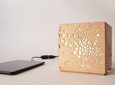 Cut 02 Wooden lamp Wooden Lampshade Desk by KingKongDesignShop