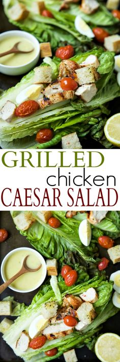 Grilled Chicken Caesar Salad with a Light Caesar Dressing that is egg and anchovy free! This Salad takes 15 minutes to make, is 289 calories a serving, and you can't beat that dynamite grill flavor infused throughout this dish!