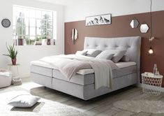 Boxspringbett 180 x 200 cm WATERFORD 2 H2 silver » Mega Möbel Large Living Room Furniture, Cama Box, Bedroom Murals, Teen Room Decor, Small Apartment Decorating, Aesthetic Rooms, Apartment Living, Room Inspiration, Living Room Designs