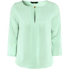 H&M Blouse ($21) ❤ liked on Polyvore featuring tops, blouses, shirts, h&m, mint green, chiffon blouse, button shirt, mint green blouse, green top and green shirt